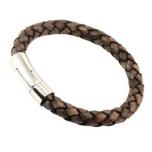 8mm Antique Brown Braided Leather Bracelet With Stainless Steel Trigger Clasp