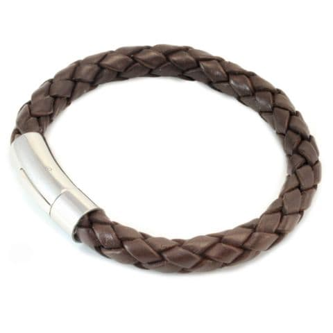 8mm Dark Brown Braided Leather Bracelet With Stainless Steel Trigger Clasp