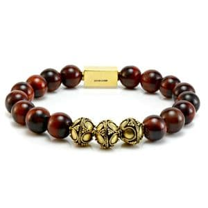 Mens Classic Red Tigers Eye & Gold Bracelet