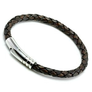 Antique Brown Braided Leather Bracelet With Stainless Steel Trigger Clasp