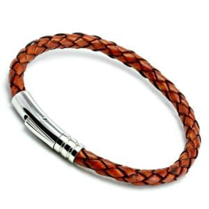 Antique Red Braided Leather Bracelet With Stainless Steel Trigger Clasp