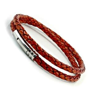 Antique Red Braided Leather Bracelet With Stainless Steel Trigger Clasp-Double Wrap