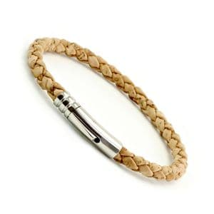 Braided Cork Bracelet With Stainless Steel Clasp-Natural