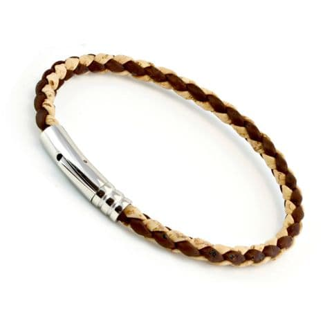 Braided Cork Bracelet With Stainless Steel Clasp-Natural/Brown