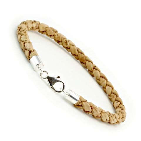 Braided Cork Bracelet With Sterling Silver Clasp-Natural