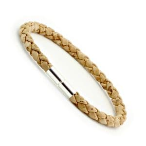 Braided Cork Bracelet With Sterling Silver Twist Clasp-Natural