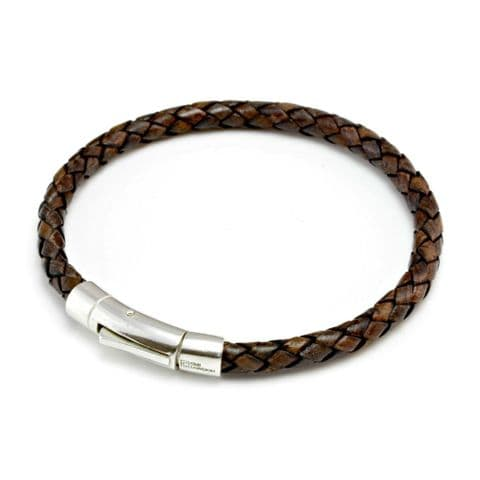 Braided Leather Bracelet With Sterling Silver Trigger Clasp-Antique Dark Brown