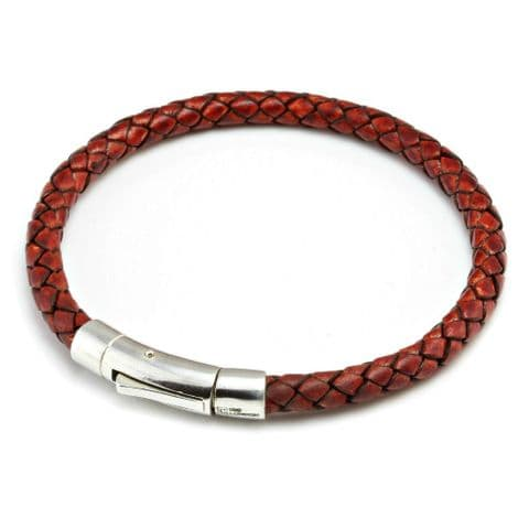 Braided Leather Bracelet With Sterling Silver Trigger Clasp-Antique Red Brown