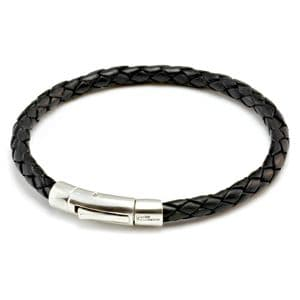 Braided Leather Bracelet With Sterling Silver Trigger Clasp-Black