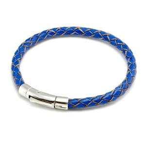 Braided Leather Bracelet With Sterling Silver Trigger Clasp-Blue
