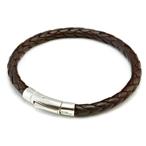 Braided Leather Bracelet With Sterling Silver Trigger Clasp-Dark Brown