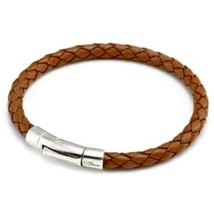 Braided Leather Bracelet With Sterling Silver Trigger Clasp-Light Brown