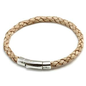 Braided Leather Bracelet With Sterling Silver Trigger Clasp-Natural