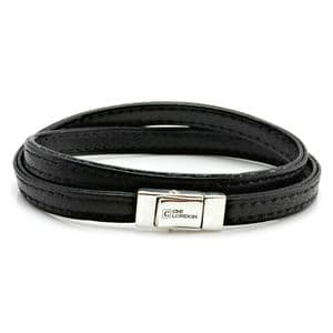 Double Wrapped Nappa Leather Bracelet with Sterling Silver Closure-Black