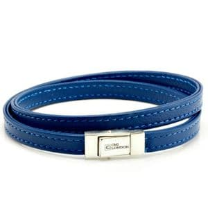 Double Wrapped Nappa Leather bracelet with sterling silver closure-Blue