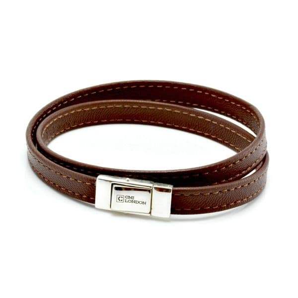 Double Wrapped Nappa Leather bracelet with sterling silver closure-Brown