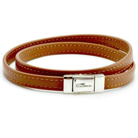 Double Wrapped Nappa Leather Bracelet with Sterling Silver Closure-Light Brown