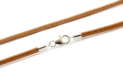 Greek Leather Necklace With Sterling Silver Clasp-Natural Tan