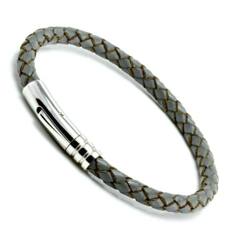 Grey Braided Leather Bracelet With Stainless Steel Trigger Clasp