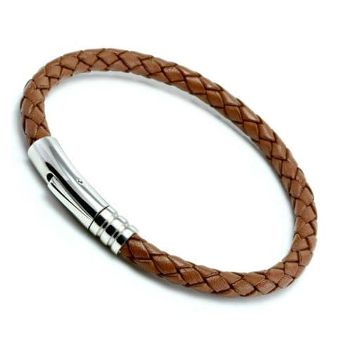 Light Brown Braided Leather Bracelet With Stainless Steel Trigger Clasp