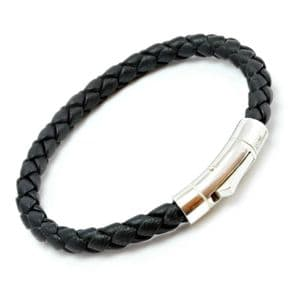 Masculine Black Braided Italian Leather Bracelet With Sterling Silver Closure