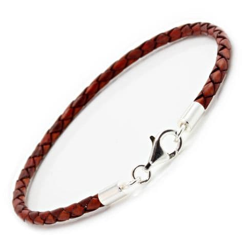 Slim Braided Leather Bracelet With Silver Clasp