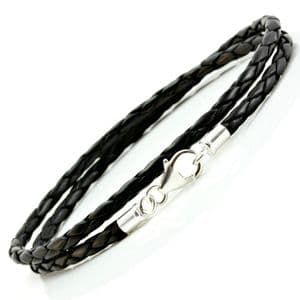 Slim Braided Leather Bracelet With Silver Clasp-Double Wrapped