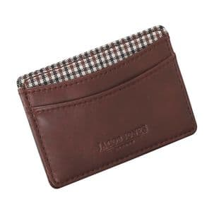 Jacob Jones 73506 Tan ID Card Case With Brown Checker Cotton Lining