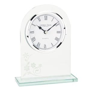 London Clock Company 051629 Arch Top Floral Glass Mantel Clock