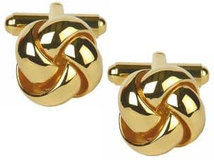Dalaco 90-9059 Open Curved Section Knot Gold Plated Cufflinks
