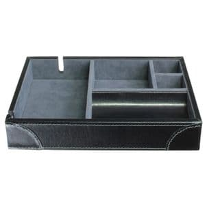 Dulwich Designs 70864 Black Valet Tray With Grey Lining
