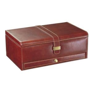 Dulwich Designs 70882 Brown 10pc Watch and Cufflink Box With Tan Lining