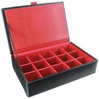 Dulwich Designs 70907 Black 15pc Cufflink Box With Red Lining