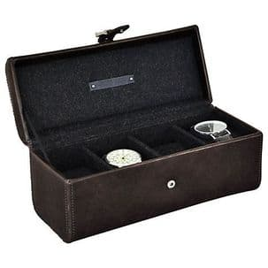 Jacob Jones 73817 Cambridge Brown 4pc Watch Box.
