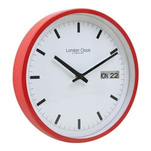 London Clock Company 01117 Red Day Date Wall Clock