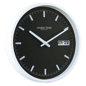 London Clock Company 01118 White And Black Day Date Wall Clock