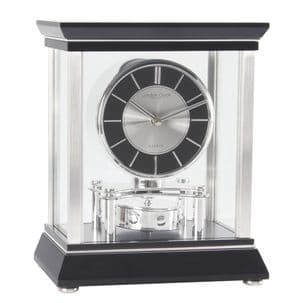 London Clock Company 03096 Black and Chrome Mantle Clock