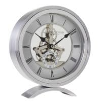 London Clock Company 04113 Silver Round Skeleton Mantel Clock