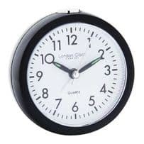 London Clock Company 04137 Black Round Alarm Clock
