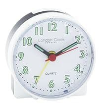 London Clock Company 04159 White Mini Travel Alarm Clock