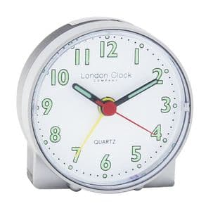 London Clock Company 04160 Silver Mini Travel Alarm Clock