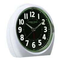 London Clock Company 04174 Medium White Luminious Display Analogue Alarm Clock