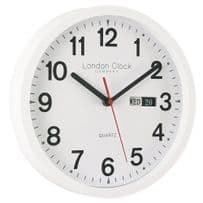 London Clock Company 24081 White Simply Day Date Wall Clock