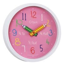 London Clock Company 24153 Childrens Pink Colouring Box Wall Clock