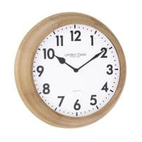 London Clock Company 24375 Traditional Light Wood Wall Clock