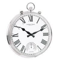 London Clock Company 24384 Fob Silver Finish Indoor / Outdoor Wall Clock