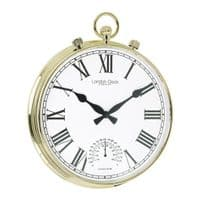 London Clock Company 24385 Fob Gold Finish Indoor / Outdoor Wall Clock