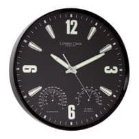 London Clock Company 24386 Black Case Indoor / Outdoor Wall Clock
