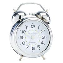 London Clock Company 32376 Twin Bell Silver Alarm Clock