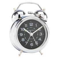 London Clock Company 32377 Twin Bell Silver Alarm Clock